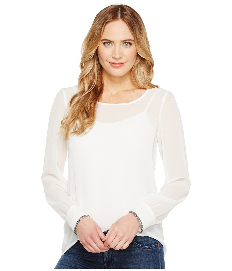 Cruel - Long Sleeve Chiffon Sleeve Studs Snaps (White) Women's Clothing
