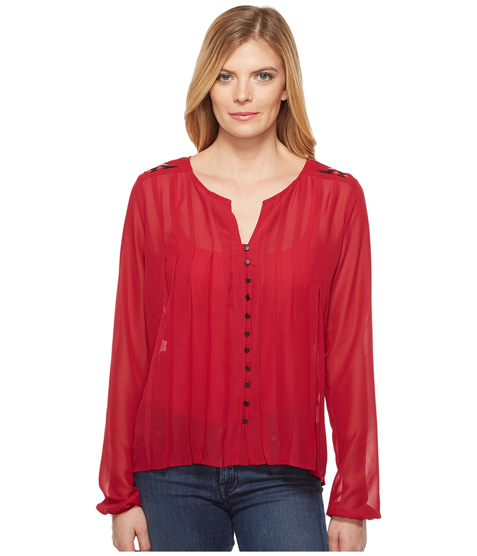 Cruel - Long Sleeve Pleated Blouse w/ Embroidery (Burgundy) Women's Blouse