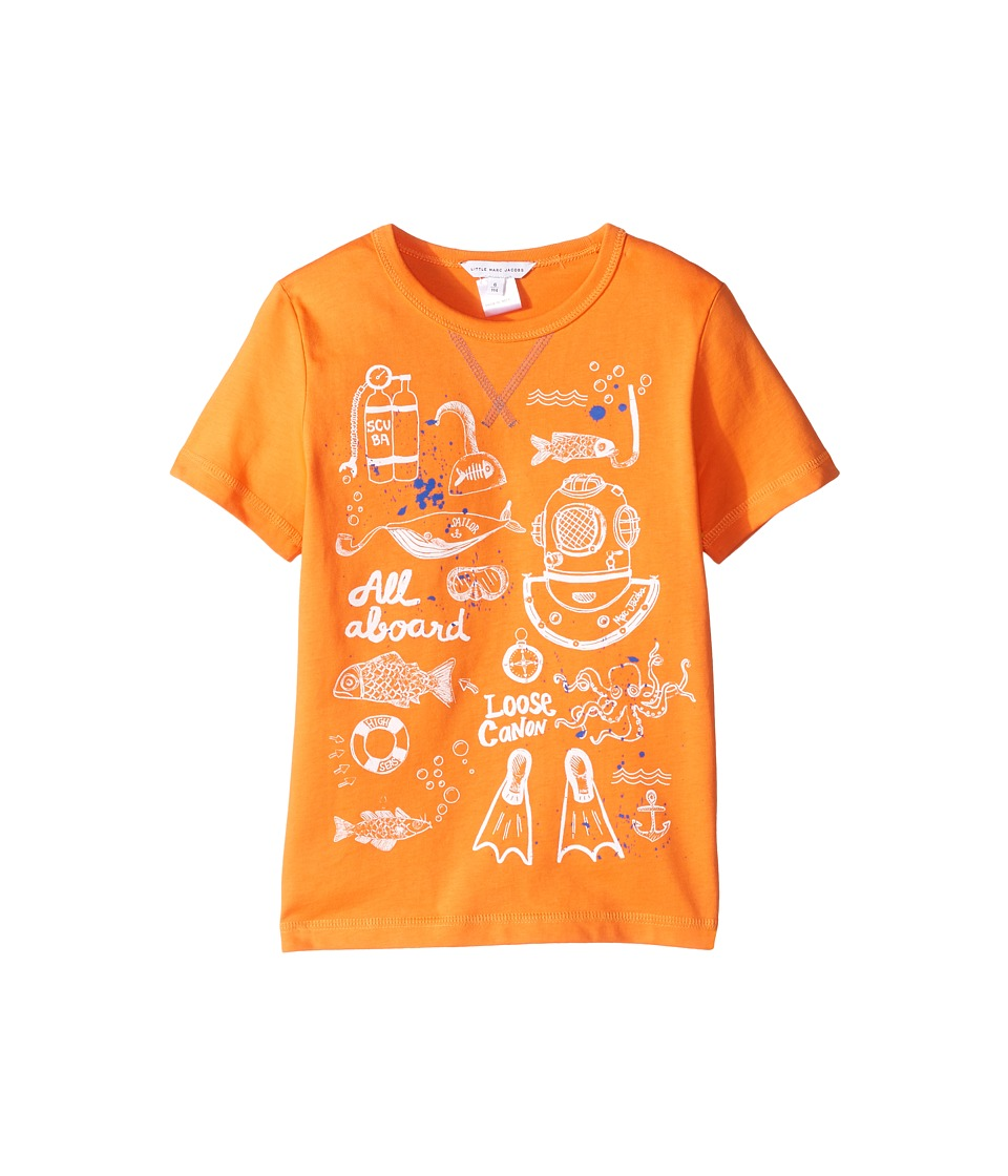 Little Marc Jacobs - Sea Animation Or Boat Print Short Sleeve Tee Shirt (Little Kids/Big Kids) (Orange) Boy's T Shirt