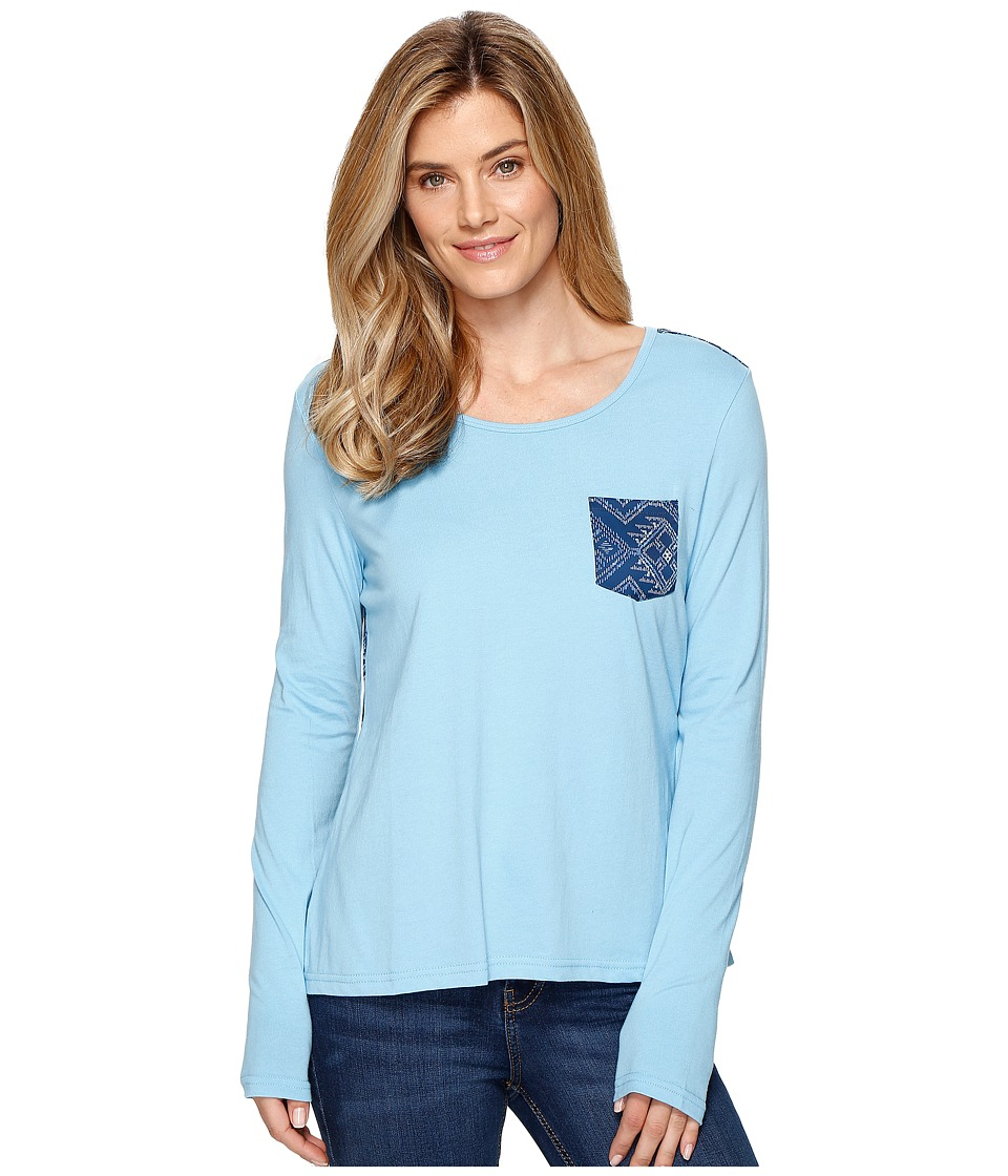 Cruel - Loose Fit Long Sleeve Cotton Jersey (Blue) Women's Clothing