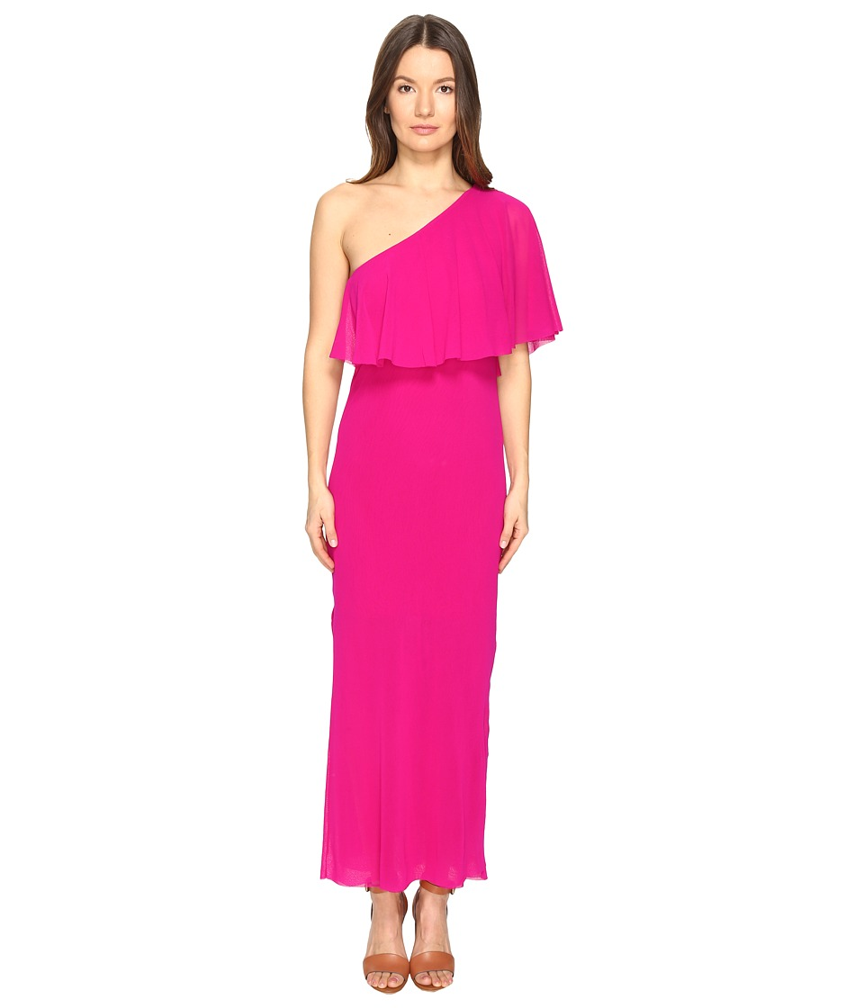 FUZZI - Solid Tulle One Shoulder Cover-Up (Begonia) Women's Clothing