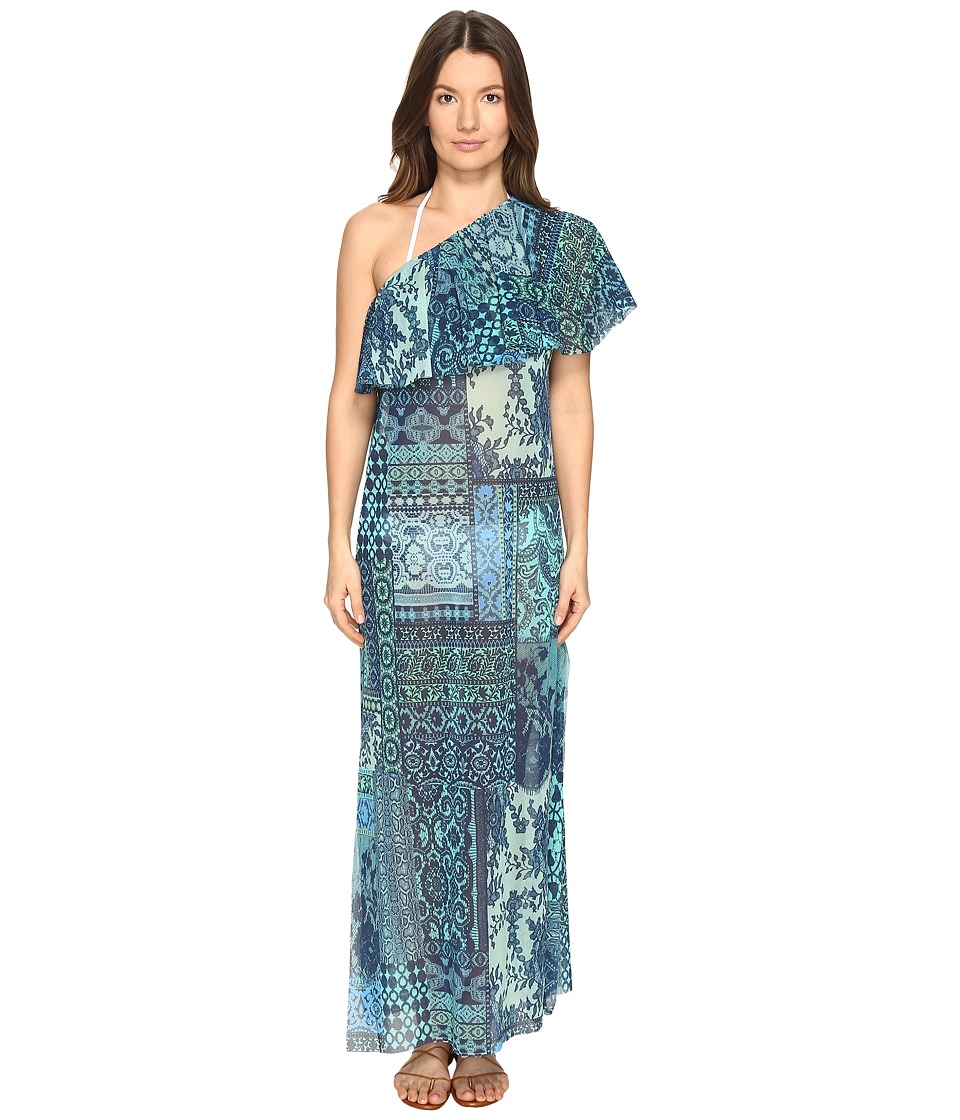 FUZZI - Lace Mosaic Print One Shoulder Cover-Up (Turquoise) Women's Clothing