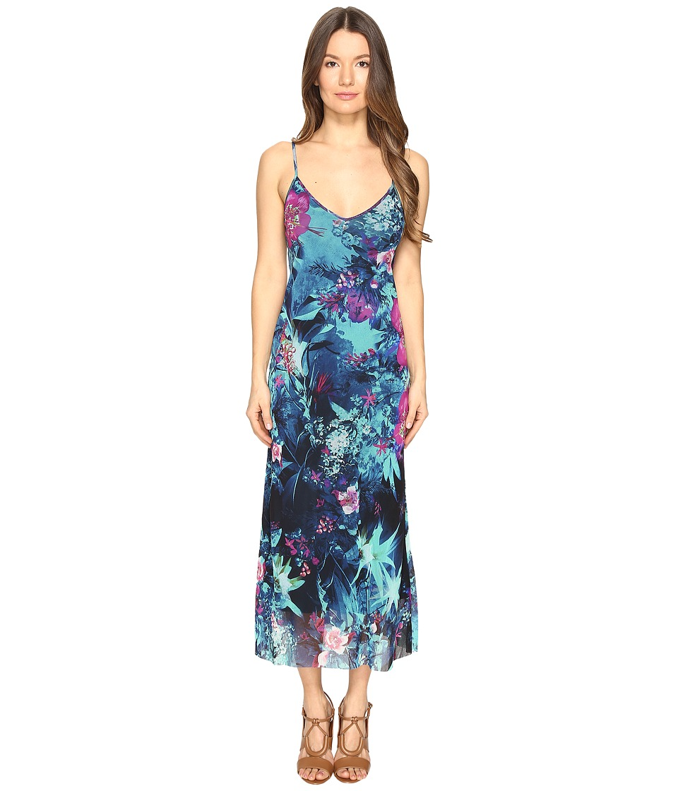 FUZZI - Tropical Flower Print Spaghetti Straps Cami Dress (Turquoise) Women's Dress