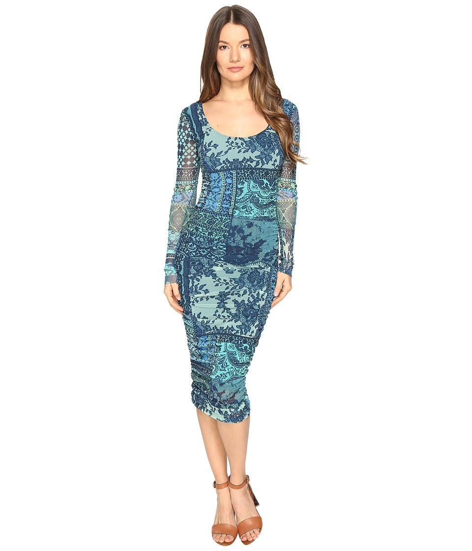 FUZZI - Lace Mosaic Print Long Sleeve Dress (Turquoise) Women's Dress