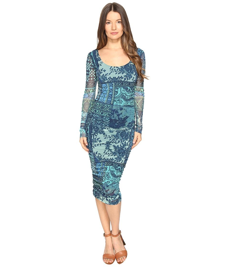 FUZZI Lace Mosaic Print Long Sleeve Dress (Turquoise) Women