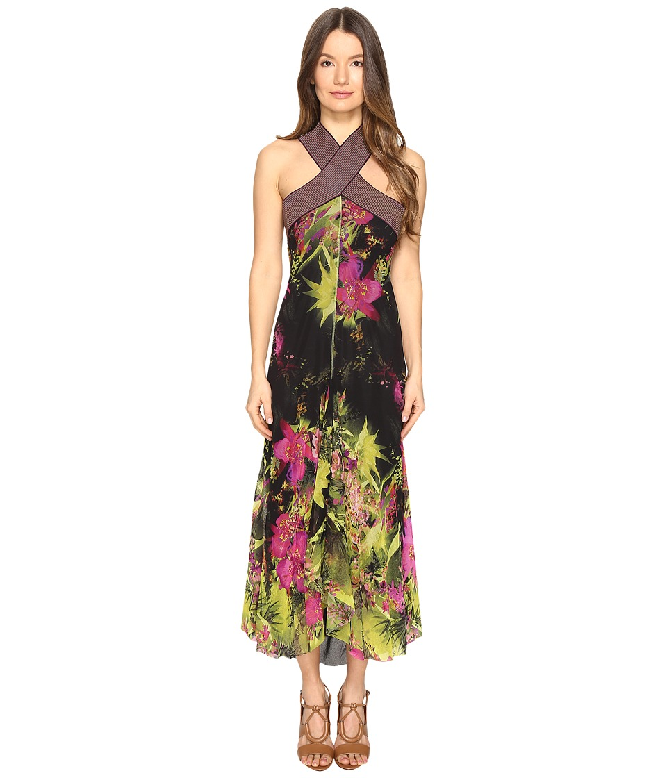 FUZZI - Tropical Flower Print Crisscross Top Long Dress (Green) Women's Dress