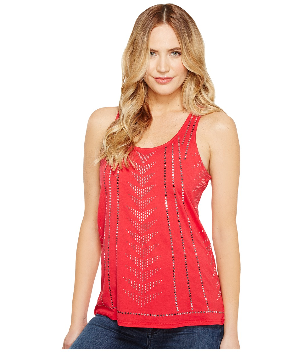 Cruel - Racerback Front Screen Jersey Tank Top (Red) Women's Sleeveless