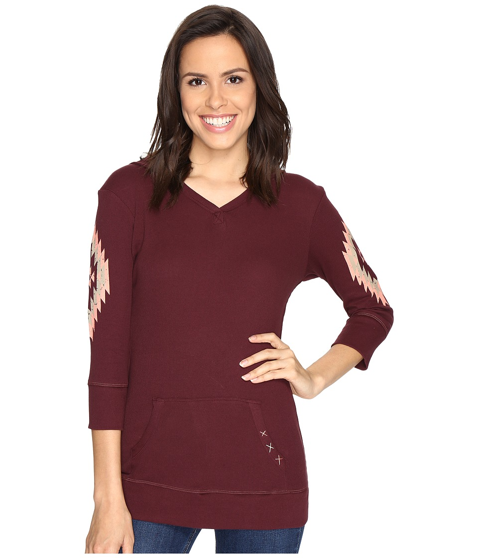 Cruel - 3/4 Sleeve Rib Knit Hoodie (Burgundy) Women's Clothing