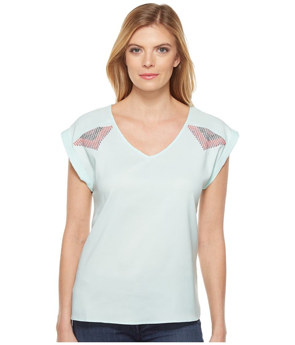 Cruel - Short Sleeve Top w/ Embroidery (Light Blue) Women's Clothing