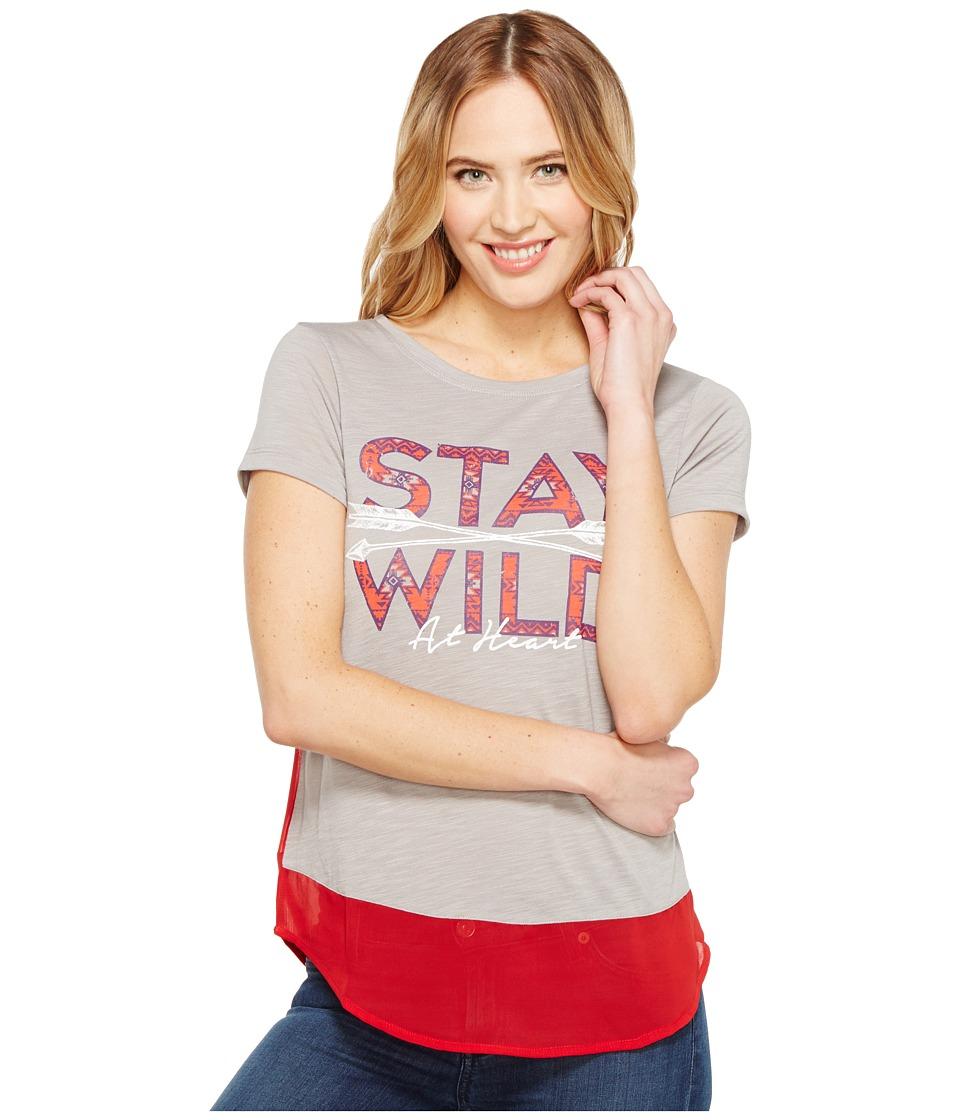 Cruel - Short Sleeve Tee Poly/Rayon Slub Contrast (Gray) Women's T Shirt