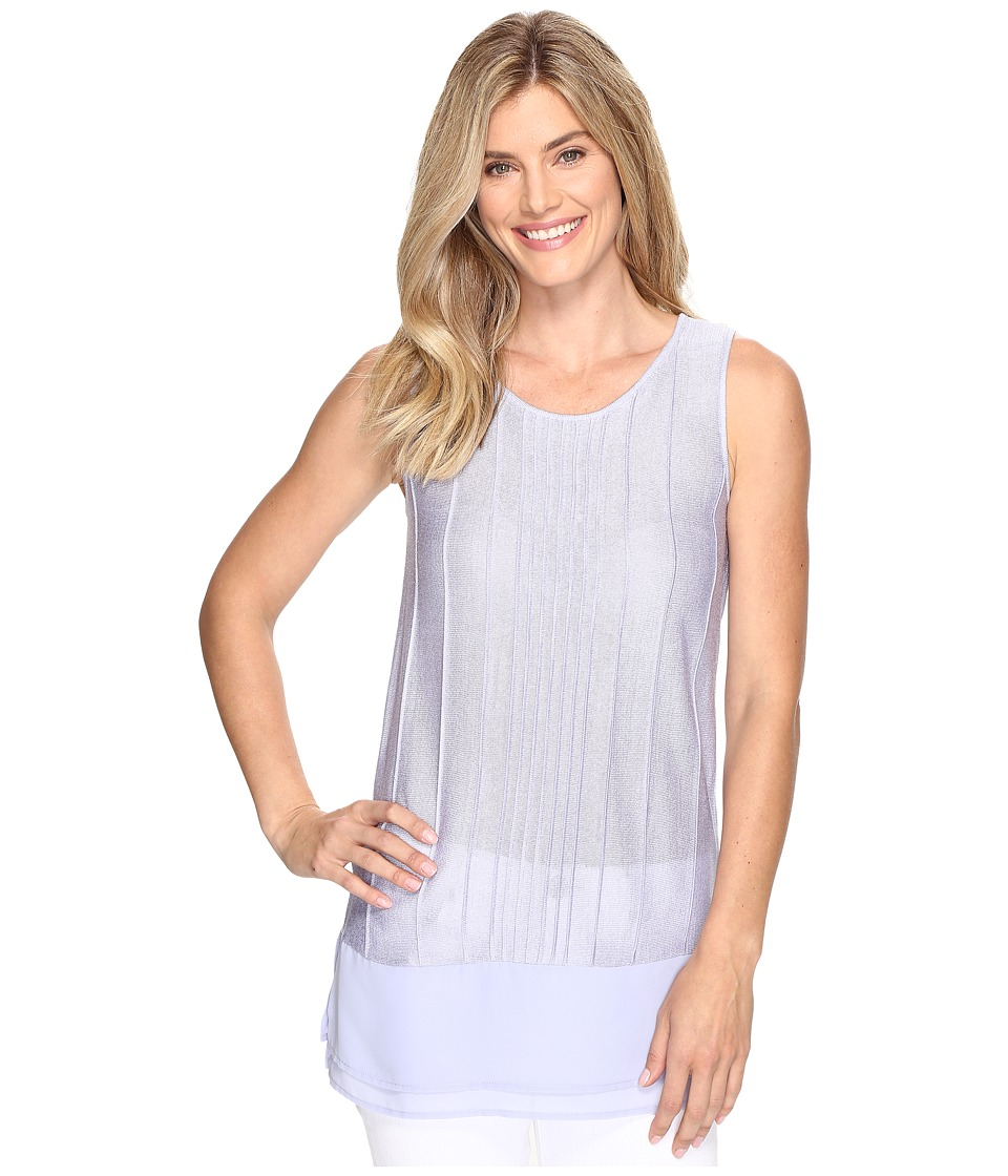 NIC+ZOE - Textured Chiffon Trim Tank (Sky Blue) Women's Sleeveless