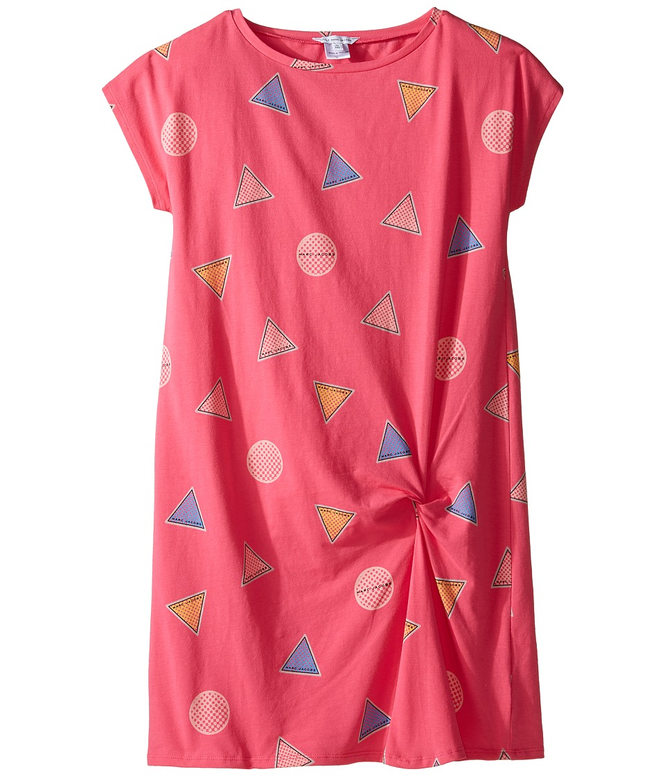Little Marc Jacobs - All Over Printed Dress with Knotted Detail (Big Kids) (Rose/Blue) Girl's Dress