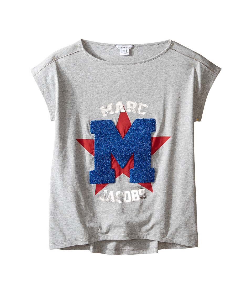 Little Marc Jacobs - Official Prints Short Sleeve Tee Shirt (Big Kids) (Gris/Rouge) Girl's T Shirt