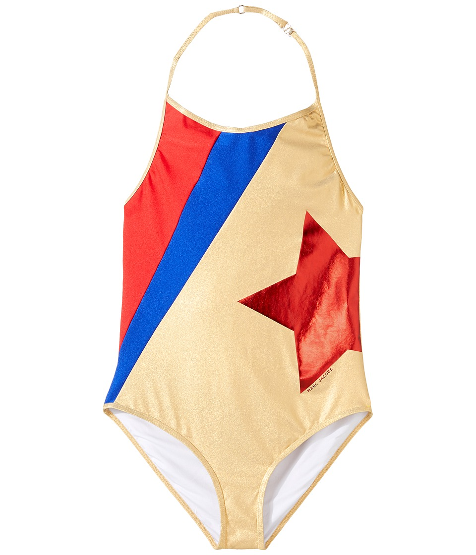 Little Marc Jacobs - One-Piece Star Swimsuit (Big Kids) (Cobalt) Girl's Swimsuits One Piece