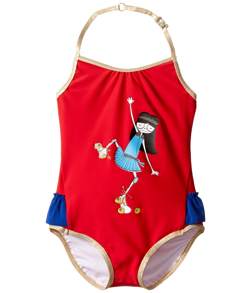 Little Marc Jacobs - Miss Marc One-Piece Swimsuit (Toddler) (Pop Red) Girl's Swimsuits One Piece