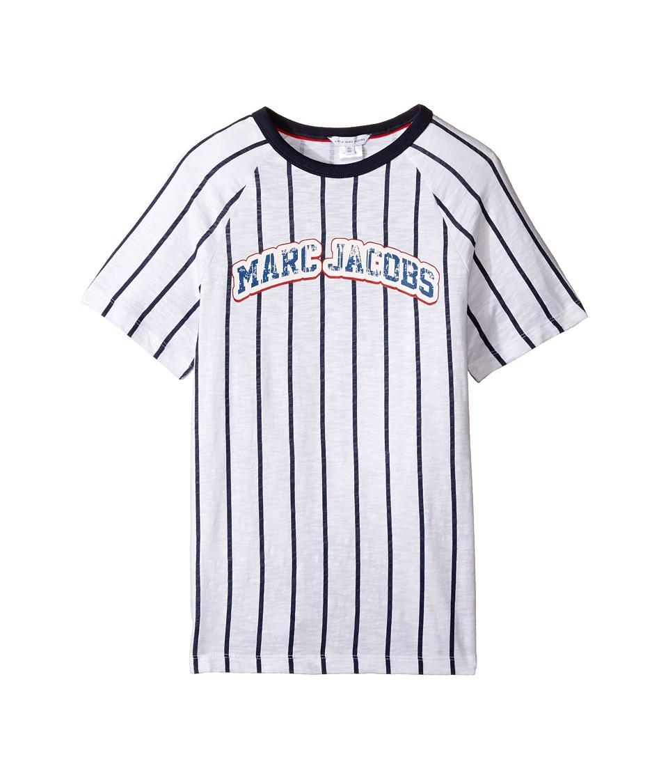 Little Marc Jacobs - Mariniere Short Sleeve Tee Shirt (Big Kids) (Blanc/Marine) Boy's T Shirt