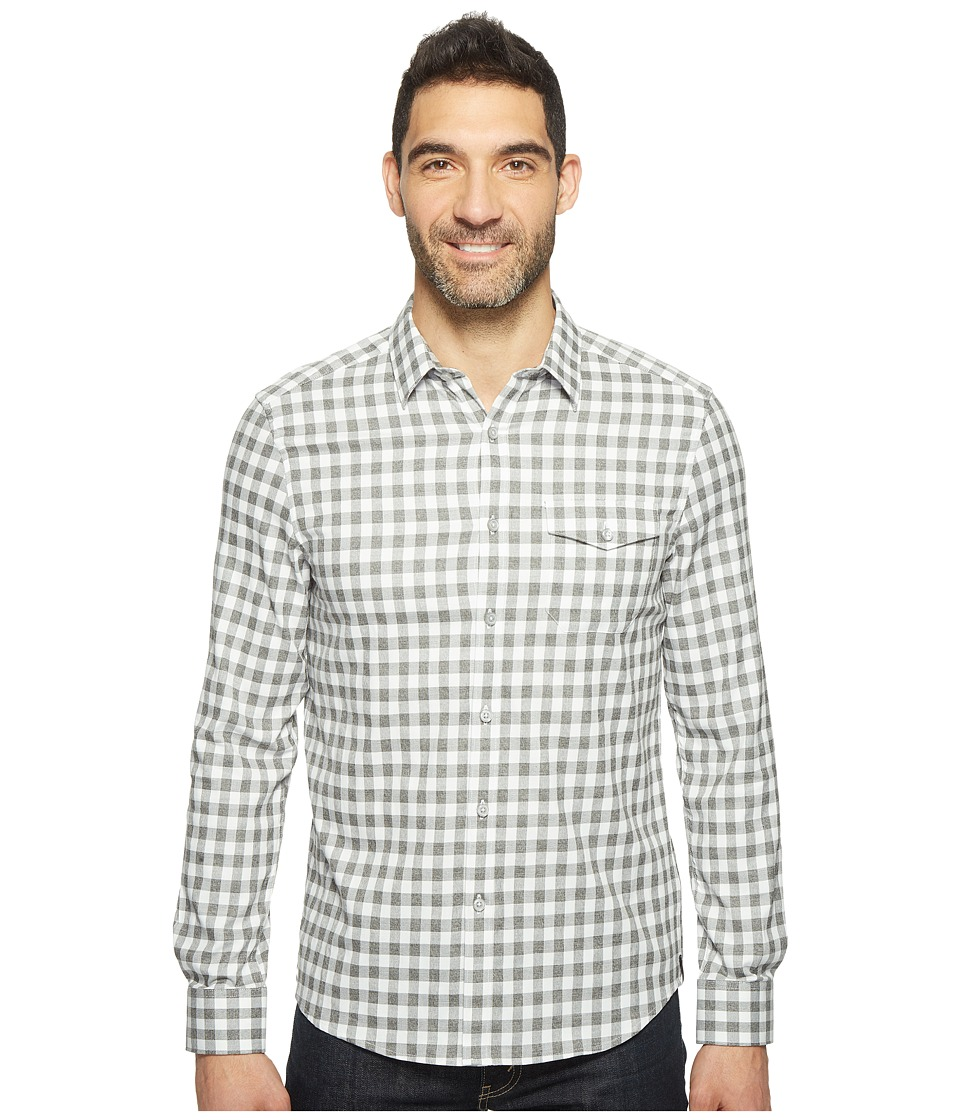 Kenneth Cole Sportswear - Long Sleeve One-Pocket Grindle Check Shirt (Heather Grey Combo) Men's Clothing
