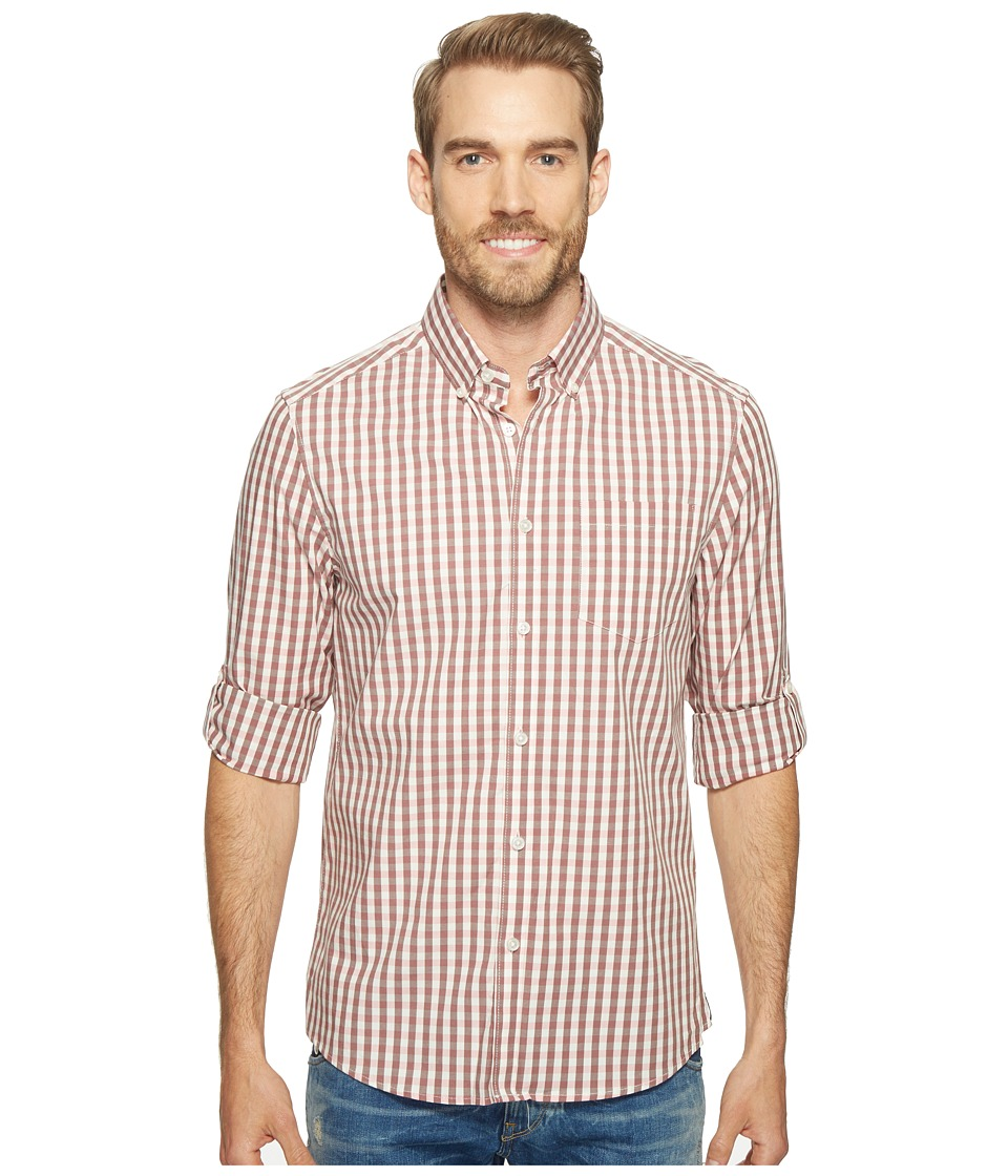 Kenneth Cole Sportswear - Long Sleeve Irridescent Check Shirt (Terra Cotta Combo) Men's Clothing