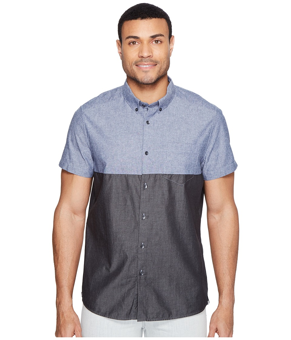 Kenneth Cole Sportswear - Short Sleeve Color Block Shirt (Indigo Combo) Men's Clothing