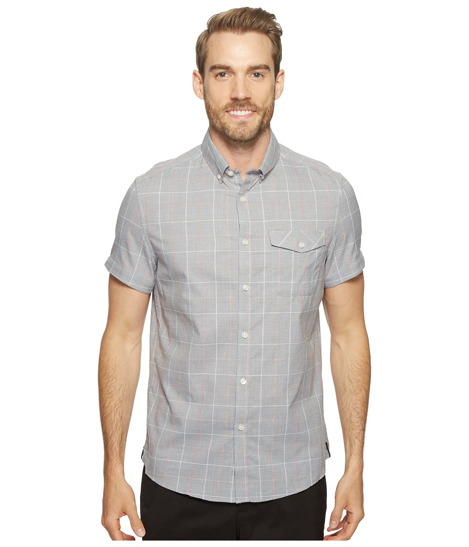 Kenneth Cole Sportswear - Short Sleeve Grindle Check Shirt (Heather Grey Combo) Men's Clothing