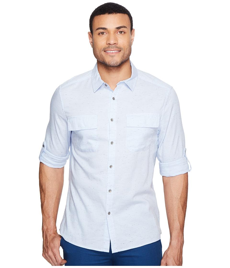 Kenneth Cole Sportswear - Long Sleeve Nep Yarn Flap Pocket Shirt (Dusty Blue Combo) Men's Clothing