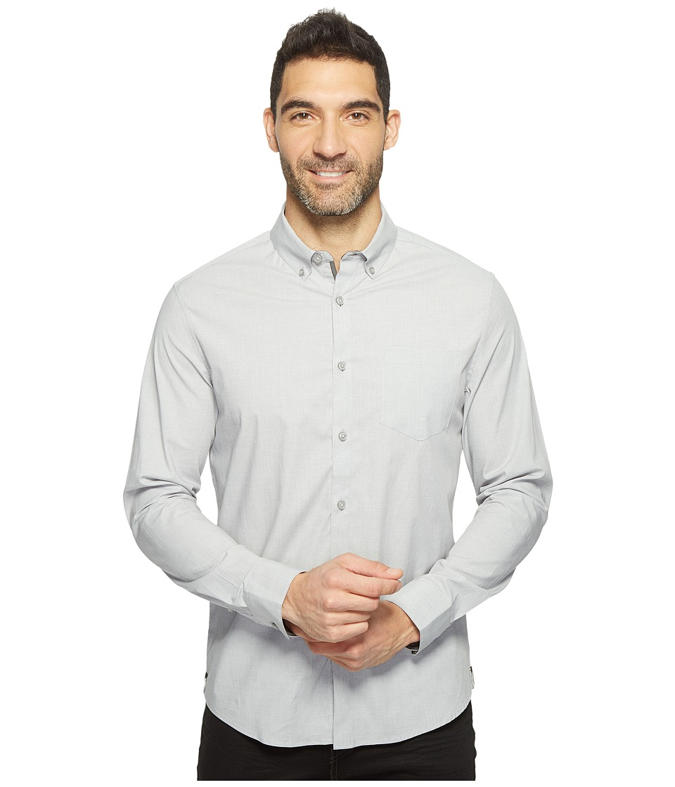 Kenneth Cole Sportswear - Long Sleeve Stretch End on End Shirt (Dim Grey Combo) Men's Clothing