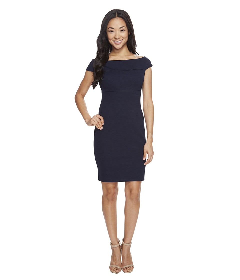 Adrianna Papell Petite Off Shoulder Color Block Fitted Dress (Blue Moon) Women