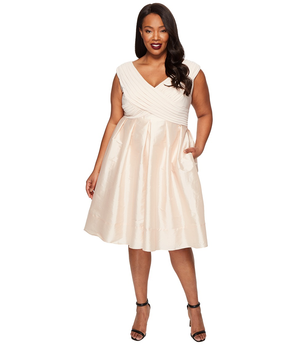 Adrianna Papell Plus Size Fit and Flare Taffeta Skirt and Draped Matte Jersey Bodice (Parchment) Women