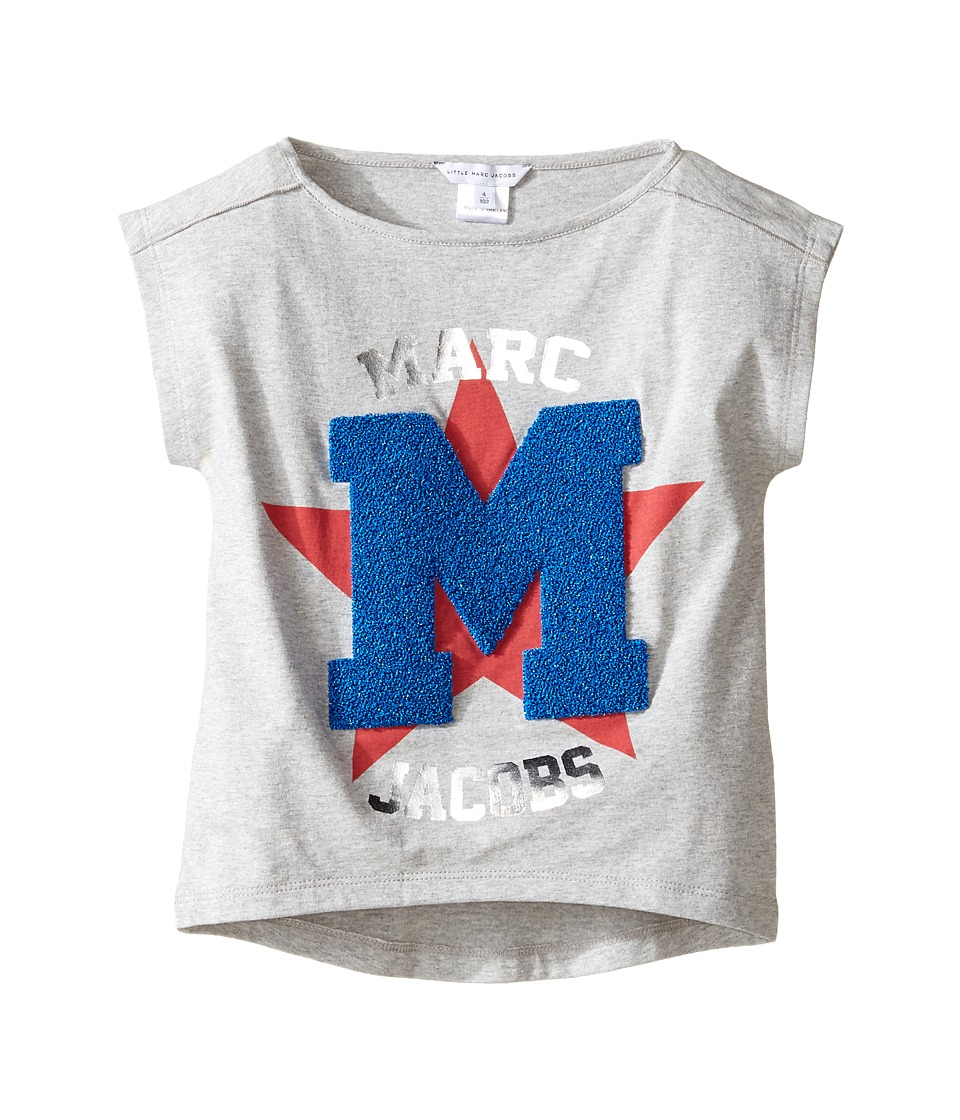 Little Marc Jacobs - Official Prints Short Sleeve Tee Shirt (Toddler) (Gris/Rouge) Girl's T Shirt