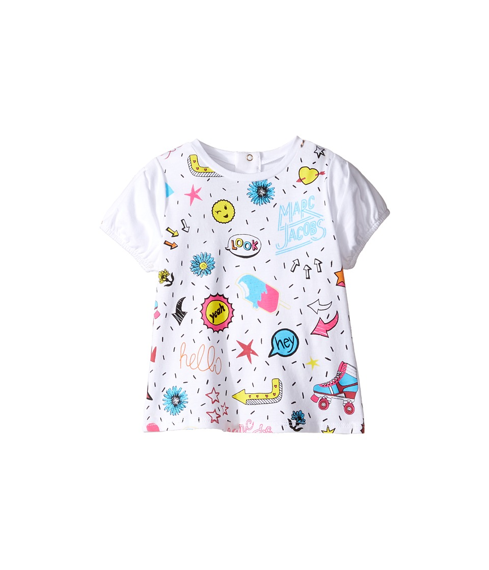 Little Marc Jacobs - Panda Or All Over Printed Short Sleeve Tee Shirt (Infant) (Blanc) Girl's T Shirt