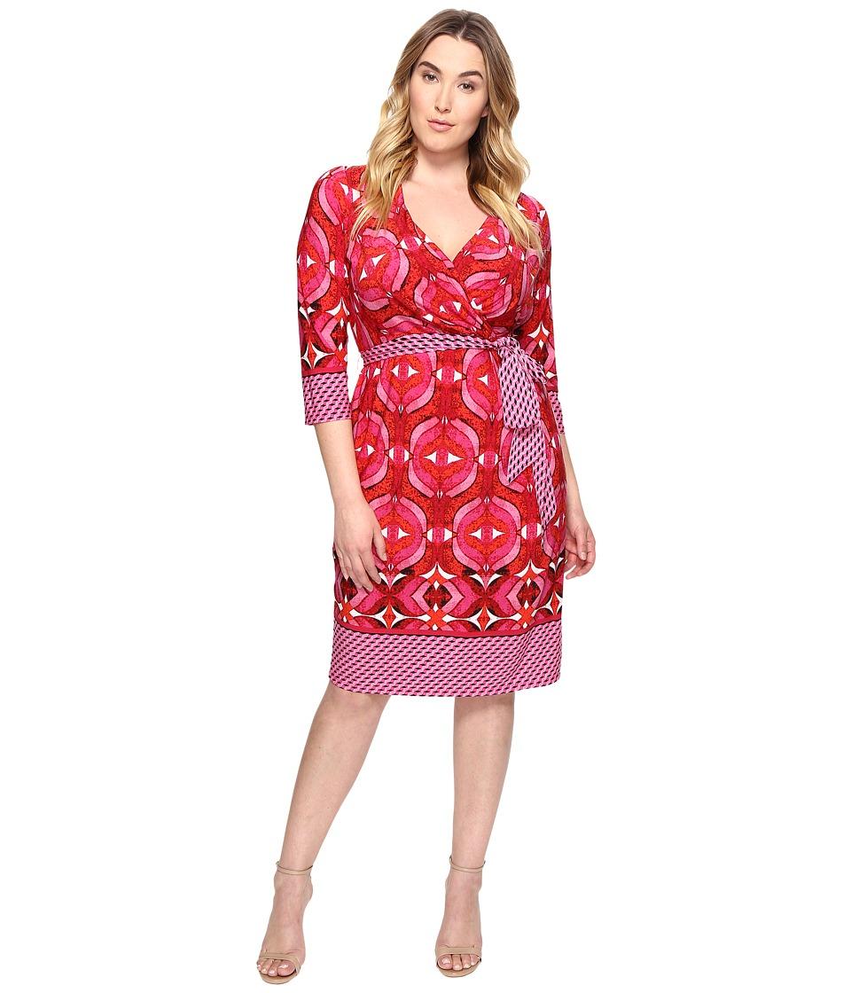 Adrianna Papell Plus Size 3/4 Sleeve V-Neck Wrap Dress (Pink Multi) Women