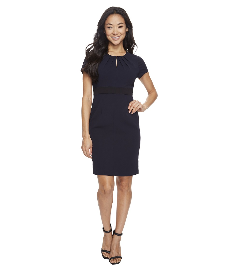 Adrianna Papell - Petite Center Front Keyhole Power Stretch Sheath (Navy/Black) Women's Dress