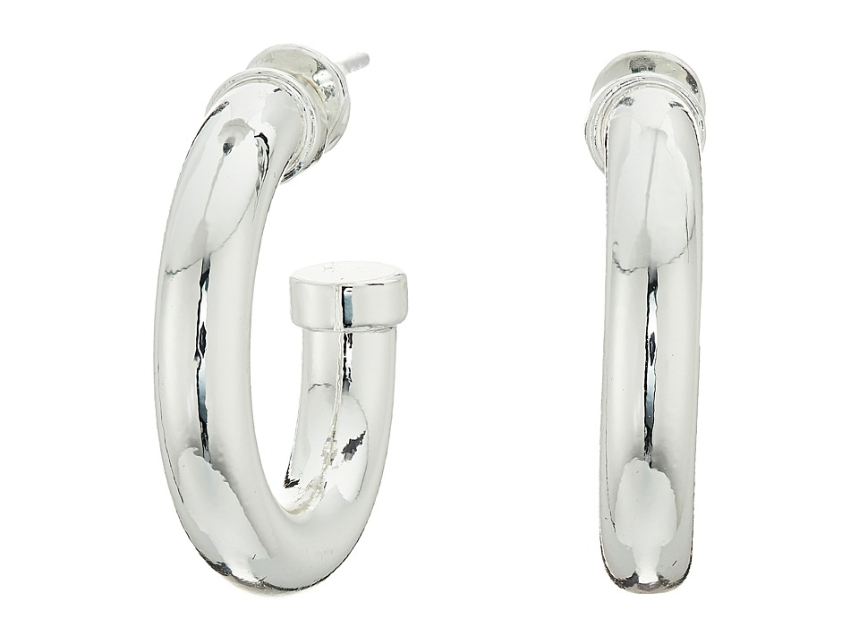 LAUREN Ralph Lauren - 6PM in New York Small Metal Tube 3/4 Hoop Earrings (Silver) Earring