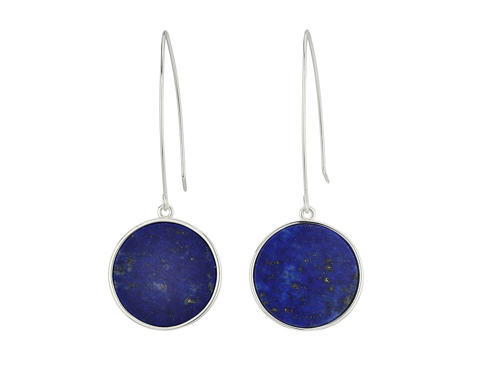 LAUREN Ralph Lauren - 6PM in New York Elongated Wire with Disk Drop Earrings (Silver/Blue) Earring