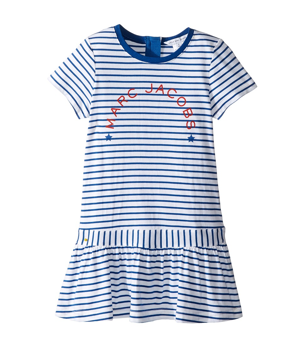 Little Marc Jacobs - Mariniere Dress (Toddler) (Blanc/Blue) Girl's Dress