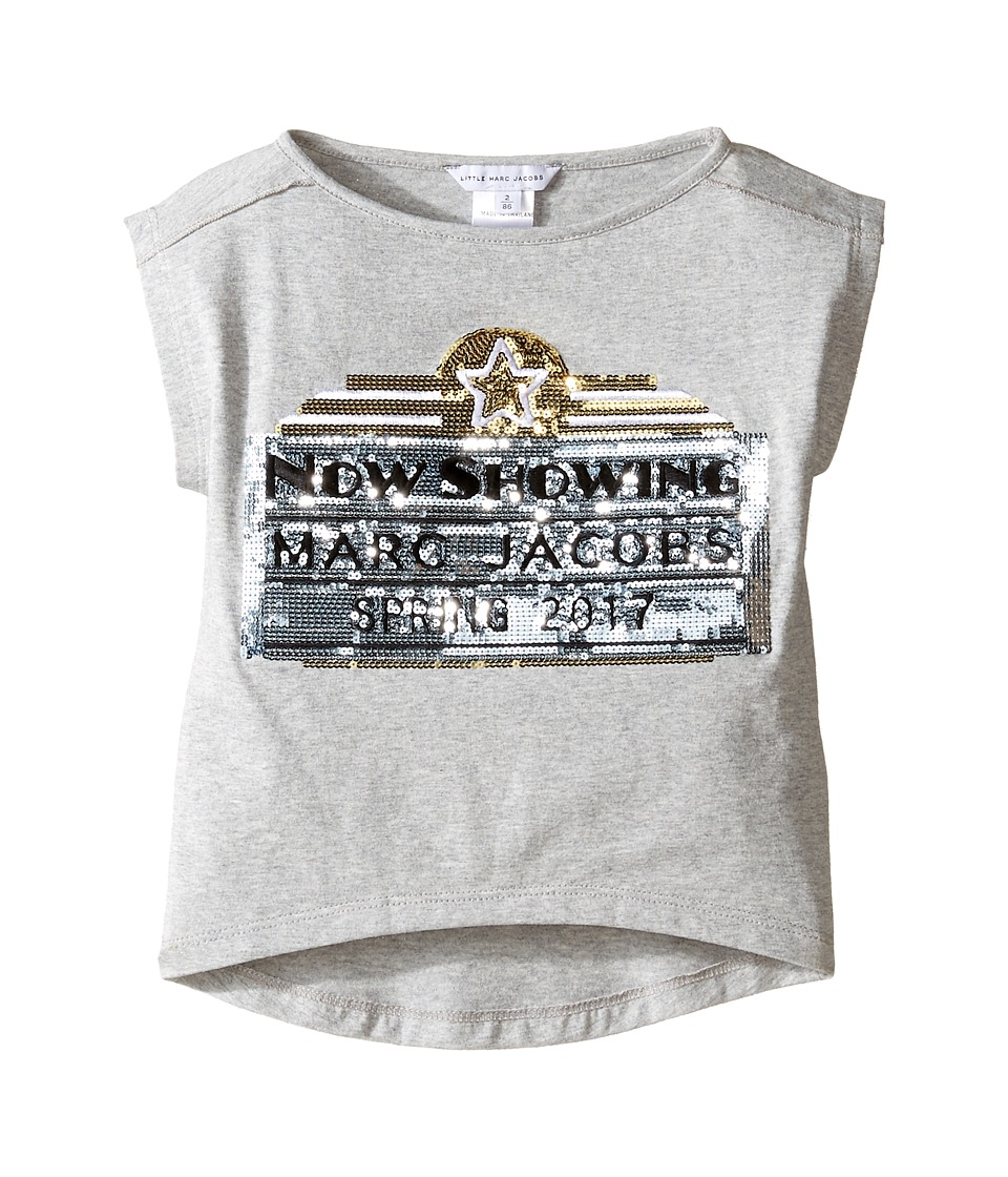 Little Marc Jacobs - Official Prints Short Sleeve Tee Shirt (Toddler) (Gris Chine) Girl's T Shirt