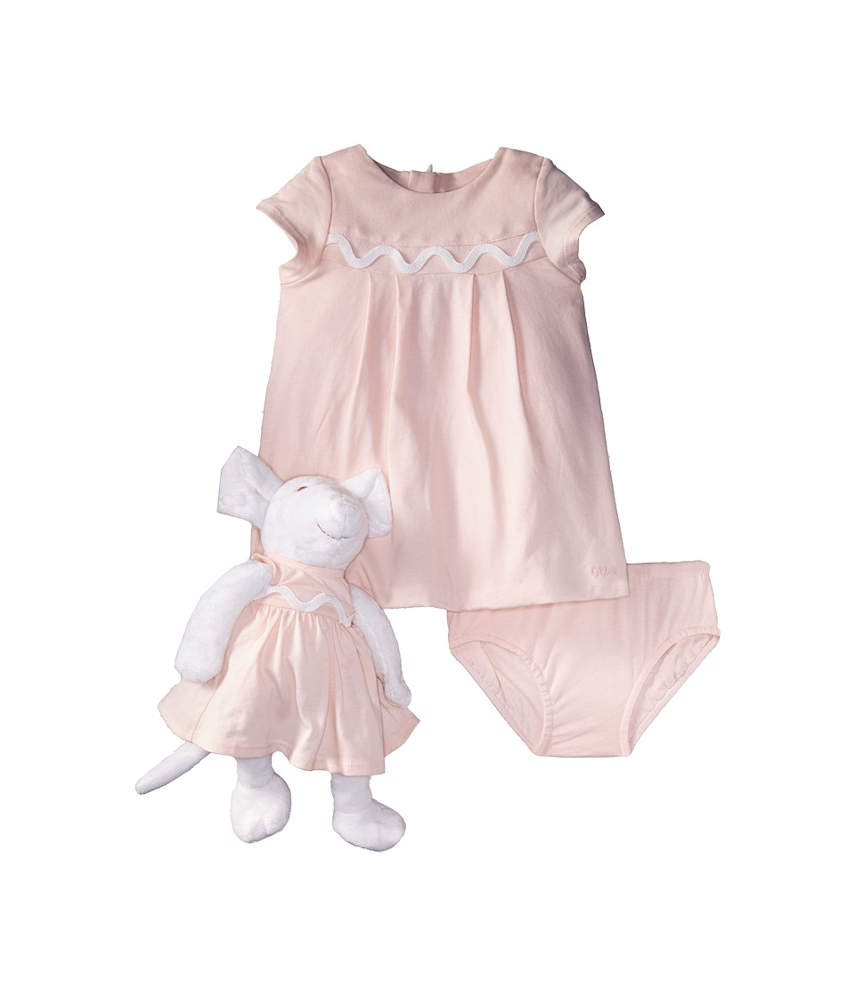 Chloe Kids - Newborn Dress/Bloomer/Mouse Toy Set (Infant) (Rose Pale) Girl's Suits Sets