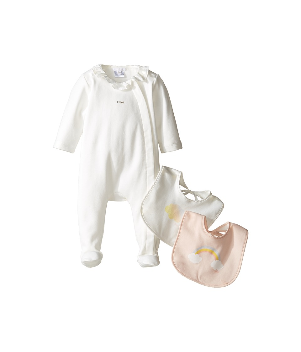Chloe Kids - Newborn Footie with Two Bibs Set (Infant) (Off-White) Girl's Active Sets