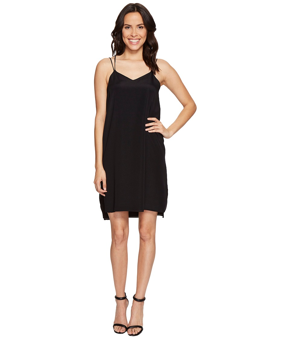 Halston Heritage - Sleeveless Double Strap Cami Slip Dress (Black) Women's Dress