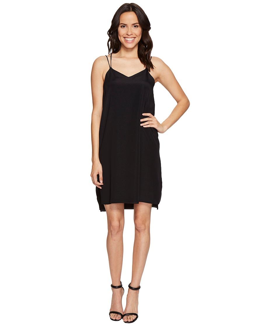 Halston Heritage - Sleeveless Double Strap Cami Slip Dress (Black) Women's Dress