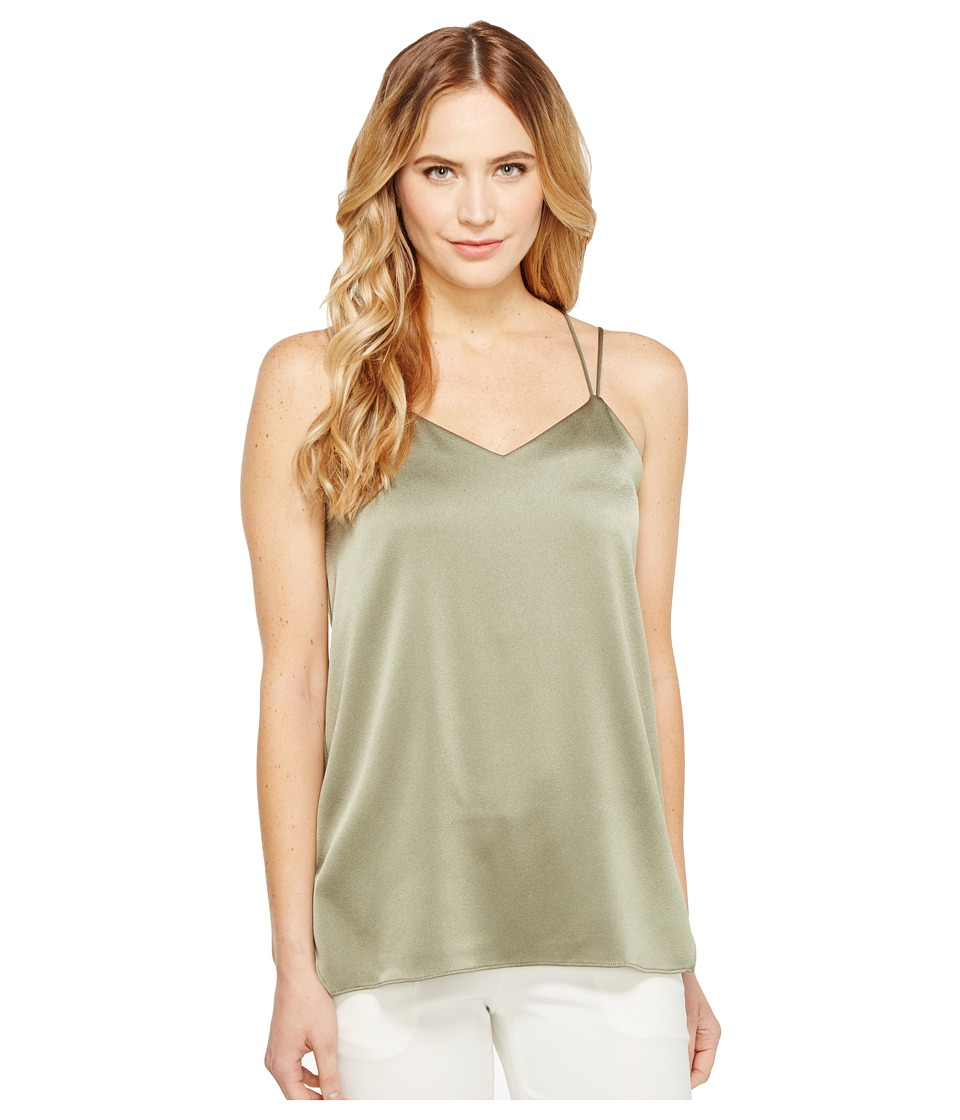 Halston Heritage - Sleeveless Double Strap Satin Cami (Moss) Women's Dress