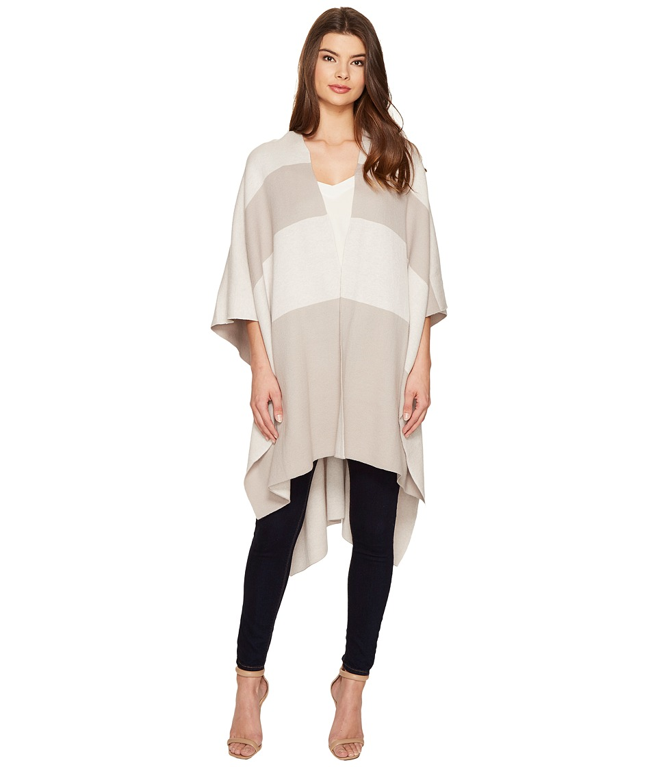 Halston Heritage - Striped Poncho Wrap (Grey/Light Grey) Women's Clothing