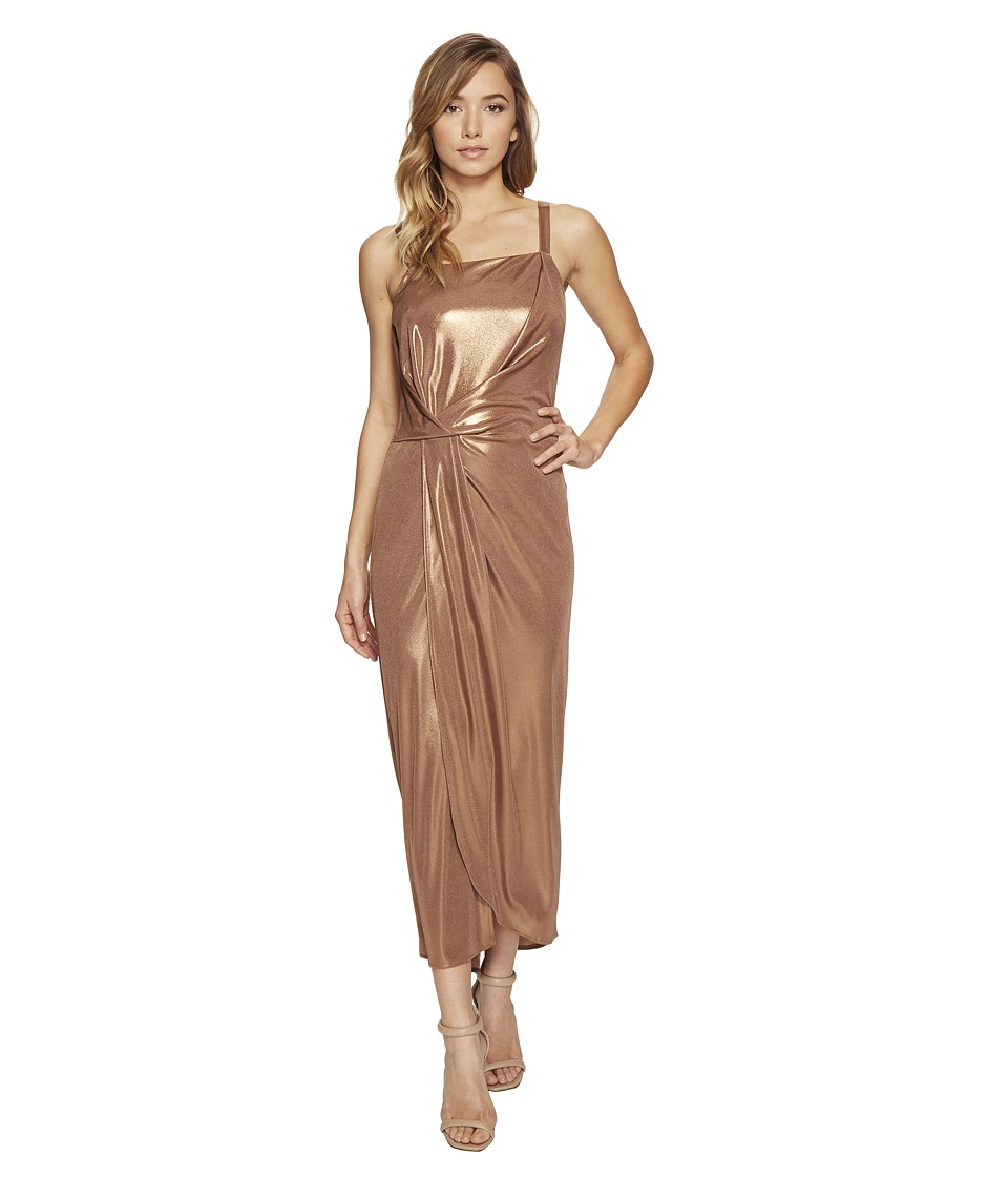 Halston Heritage - Sleeveless High Square Neck Draped Jersey Dress (Copper) Women's Dress