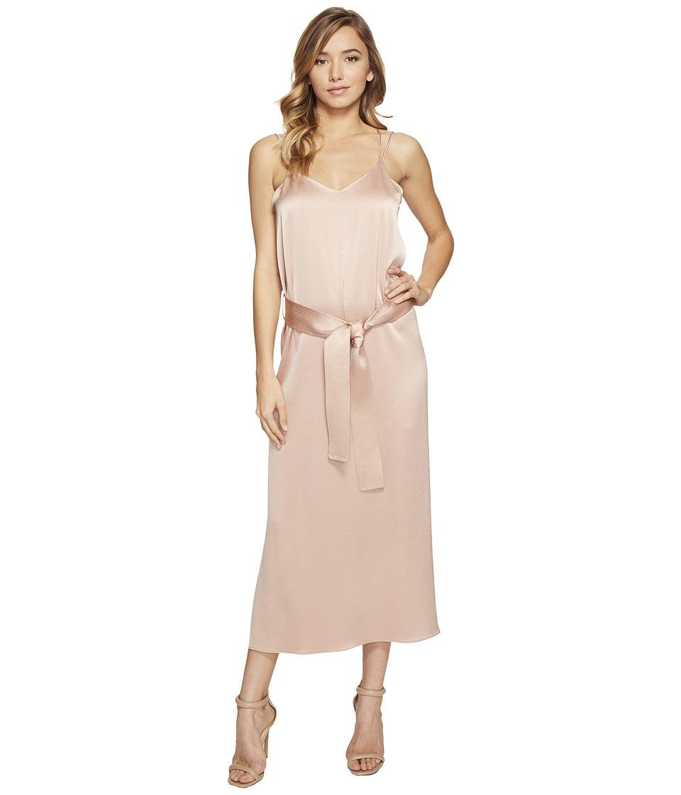 Halston Heritage Sleeveless Double Strap Satin Slip Dress (Almond) Women