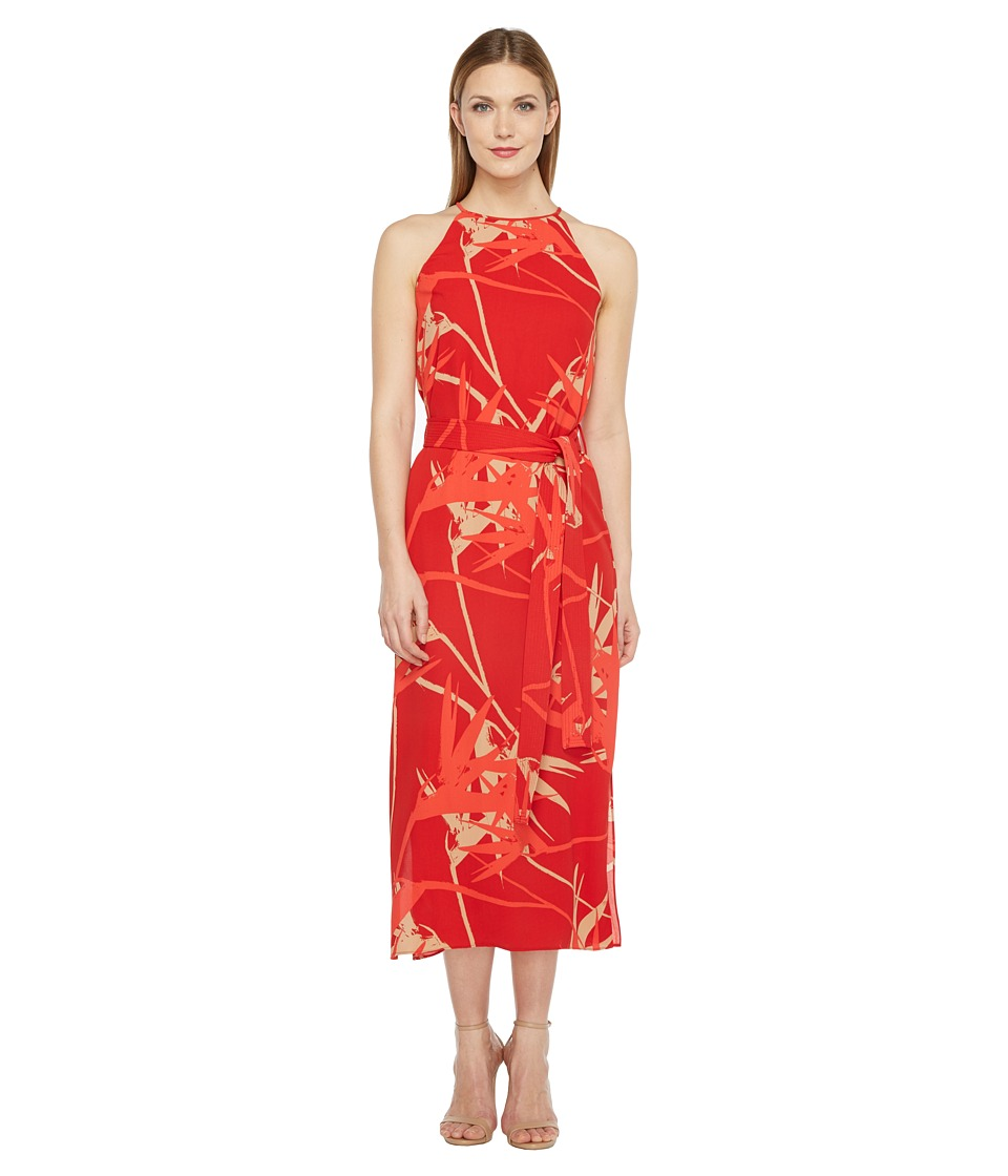 Halston Heritage Sleeveless High Neck Printed Slip Dress