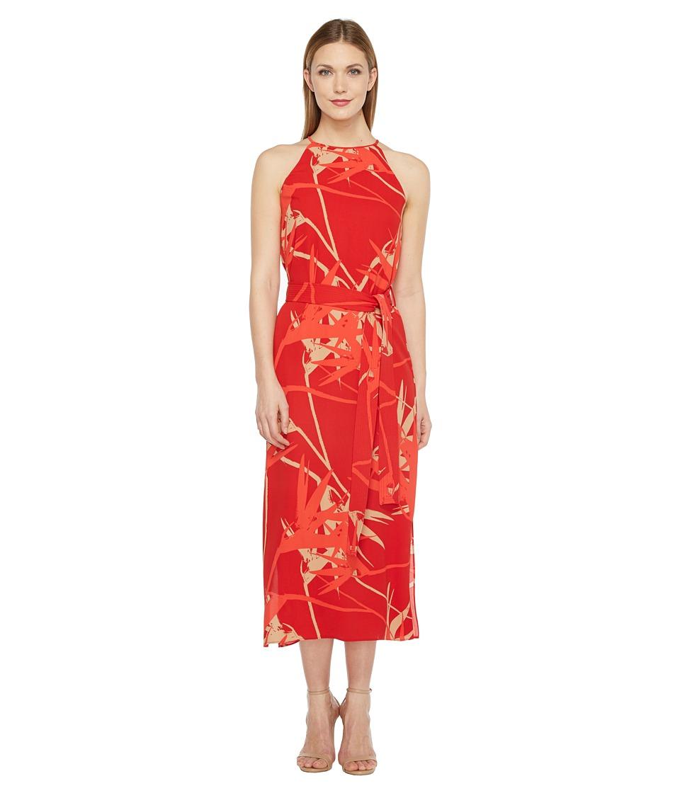 Halston Heritage Sleeveless High Neck Printed Slip Dress (Chili Paradise Print) Women