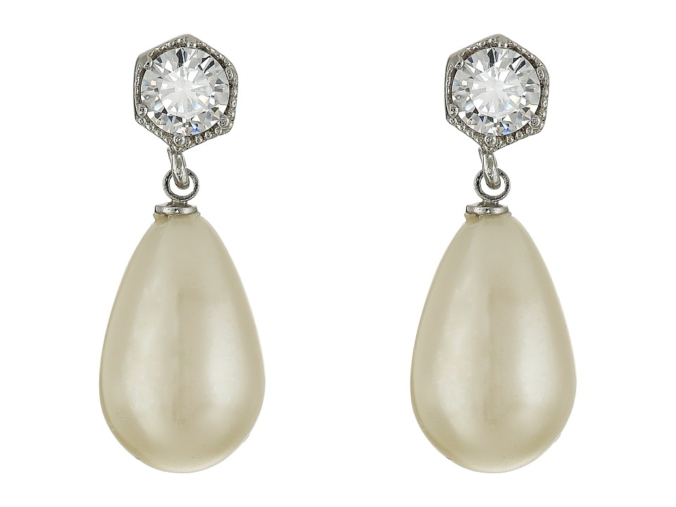 LAUREN Ralph Lauren - Headlines Drop Earrings (Silver/Pearl/Crystal) Earring