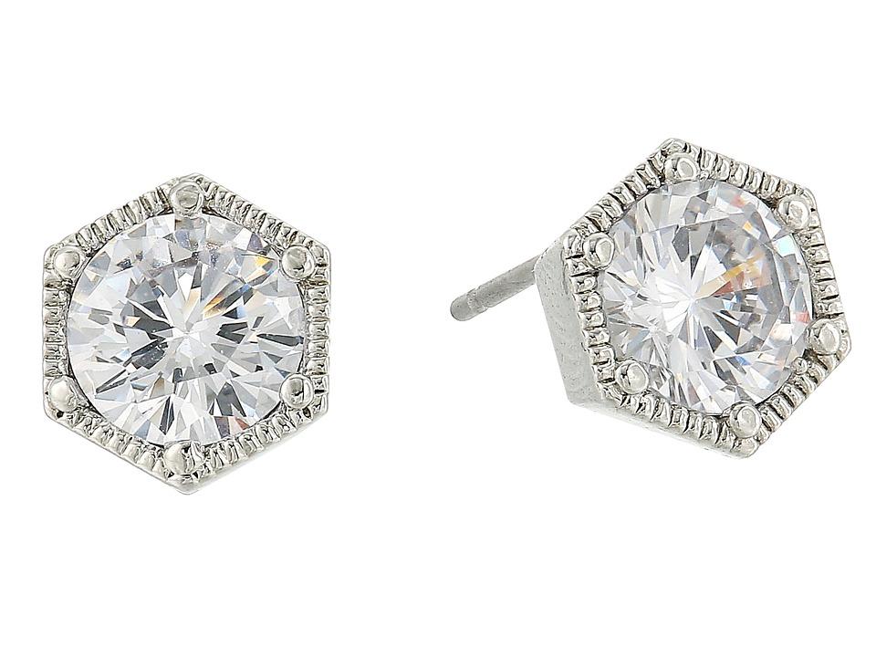 LAUREN Ralph Lauren - Headlines Hexagon Stud Earrings (Silver/Crystal) Earring