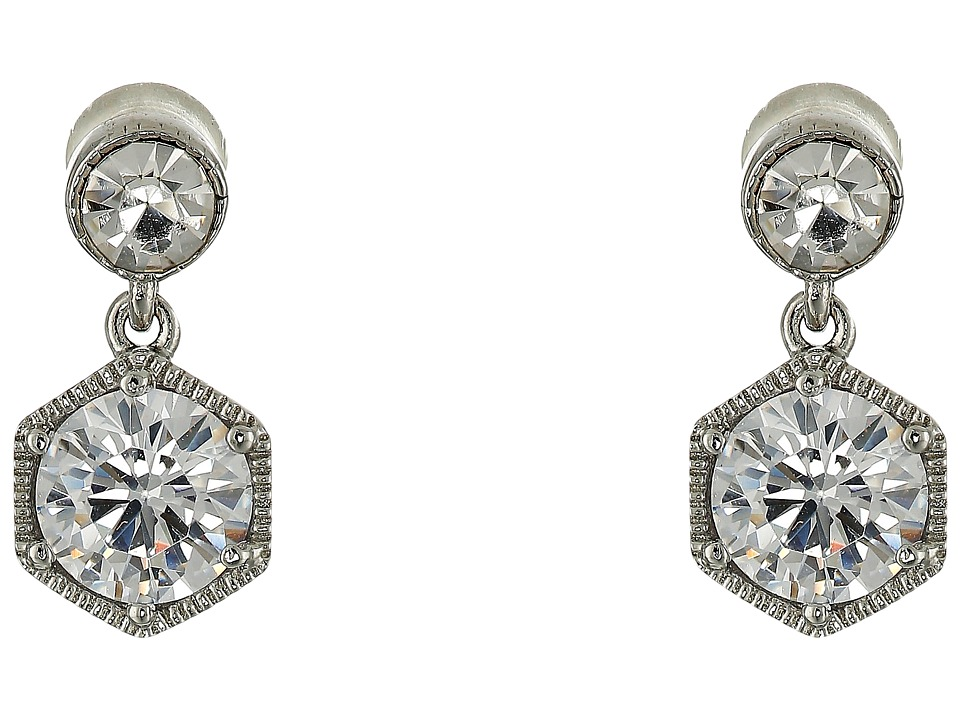 LAUREN Ralph Lauren - Headlines Double Drop Earrings (Silver/Crystal) Earring