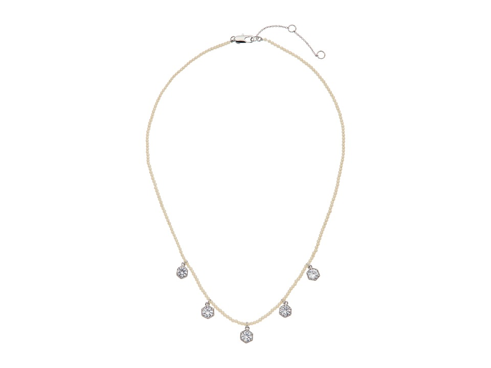 LAUREN Ralph Lauren - Headlines 16 in Hexagon Frontal Necklace (Silver/Pearl/Crystal) Necklace